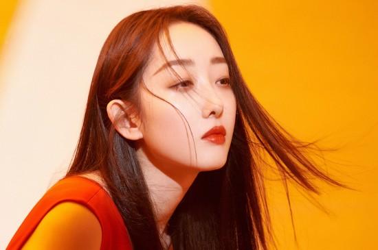 蒋梦婕性感美艳红裙桌面