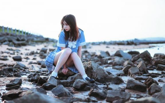 清纯学生妹jk制服唯美海