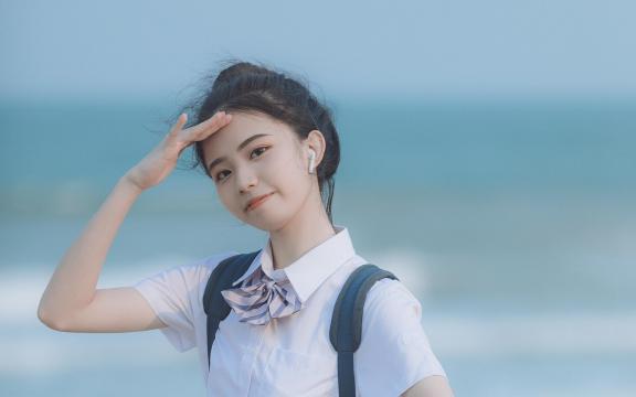 日系元气少女海边唯美可