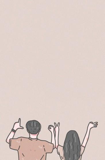 甜蜜小情侶插畫手機壁紙