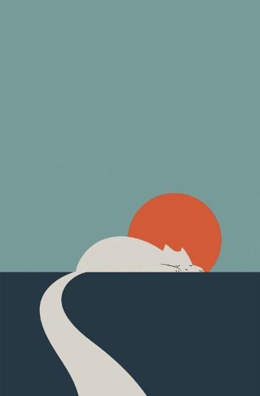 日系猫咪可爱插画高清手机壁纸