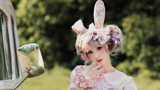 粉色系兔耳洛丽塔少女甜
