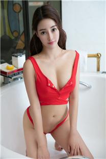 红色绑带内衣丰乳性感美女写真壁纸