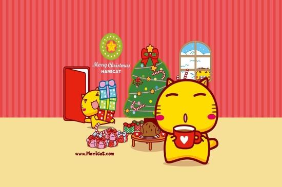 <哈咪猫欢乐圣诞桌面壁纸