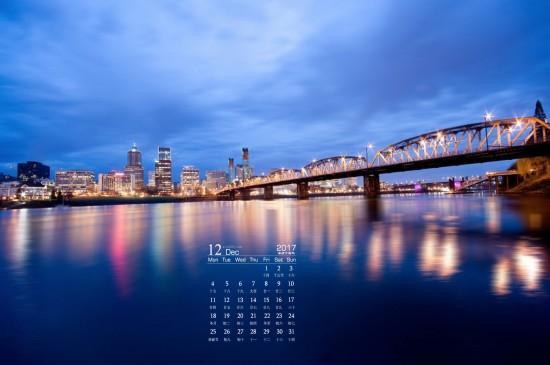 2017年12月城市夜景日历桌面壁纸