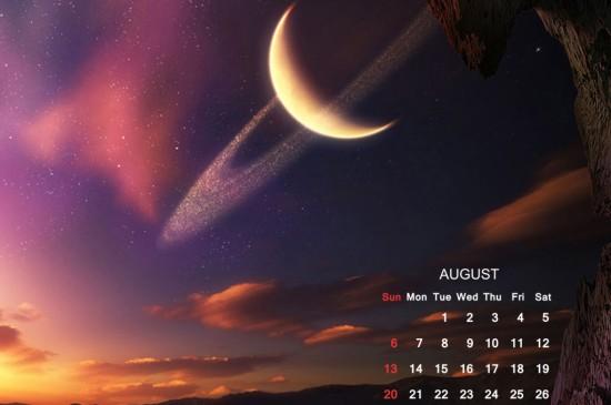 2017年8月月球星空日歷圖片