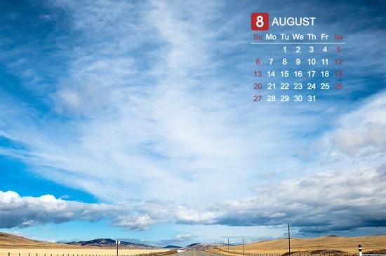 2017年八月风景日历安卓平板壁纸