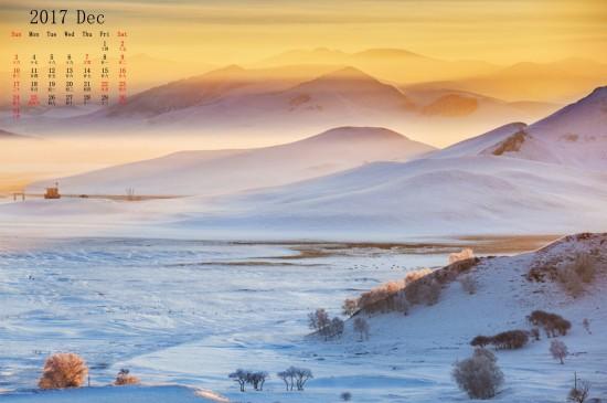 2017年12月唯美雪景日历桌面壁纸
