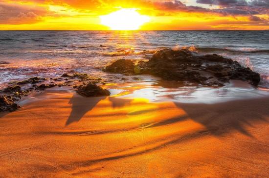 唯美夕陽風景火燒云圖片