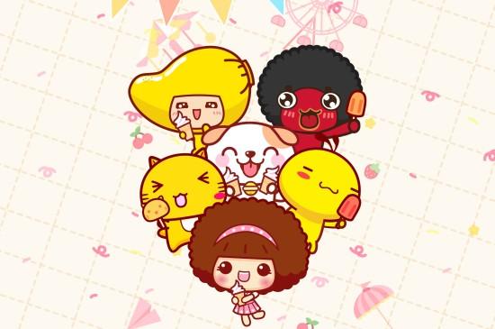 可愛卡通兒童節快樂蘋果平板壁紙