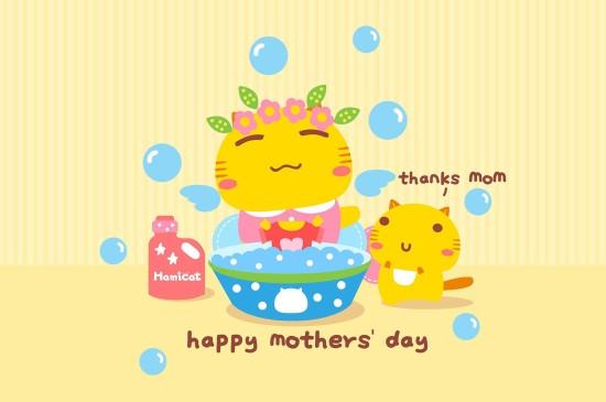 可愛卡通摩絲摩絲母親節快樂圖片