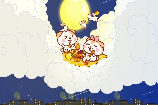 摩丝摩丝中秋节卡通高清桌面壁纸