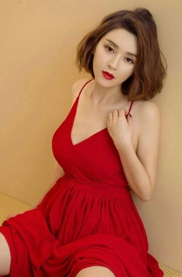 <性感红裙御姐红唇诱惑写真手机桌面壁纸