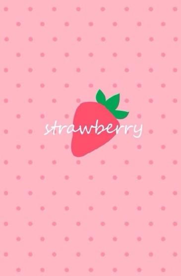 简约草莓插画手机锁屏壁