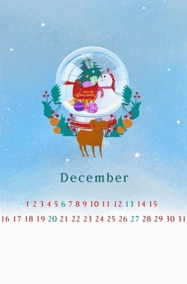 <2015年12月卡通日历手机壁纸