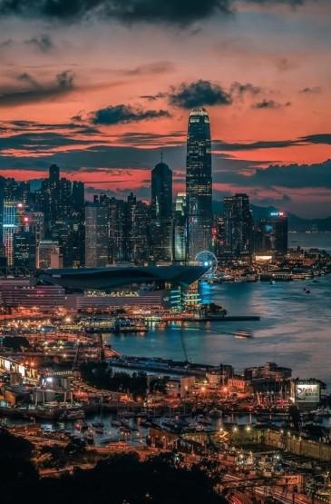 迷人夜景高楼大厦城市建筑手机壁纸