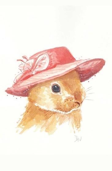 手绘插画小兔子高清iphone壁纸