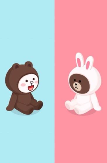 <布朗熊可妮兔卡通情侣手机壁纸