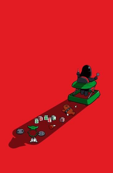 红色卡通风格搞怪手机壁纸