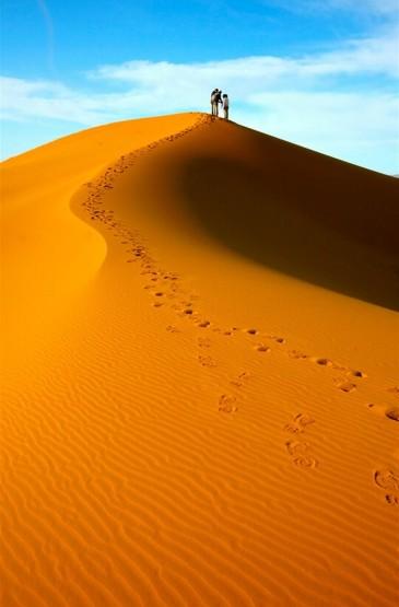 荒漠无垠的沙漠自然风光手机壁纸