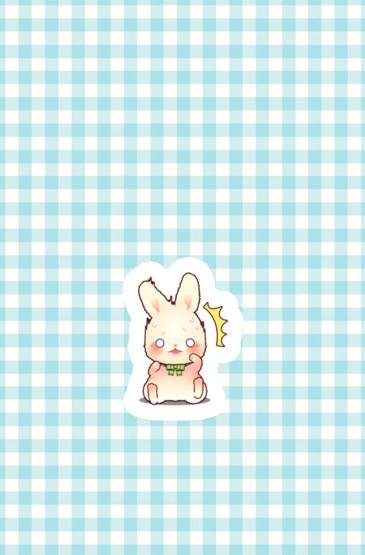 <網格可愛卡通兔子蘋果手機壁紙