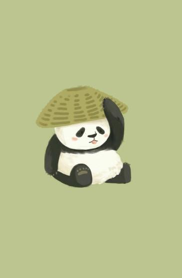 <可愛卡通熊貓簡約手機壁紙下載