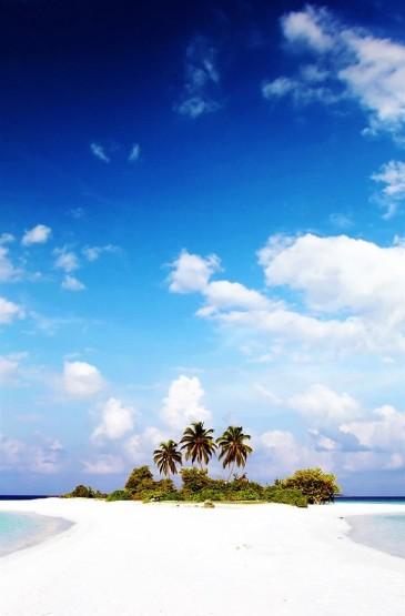 清新海岛屋子唯美风景手机壁纸