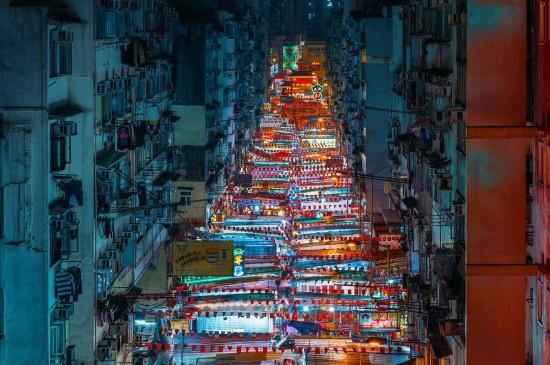 香港油麻地廟街夜市圖片