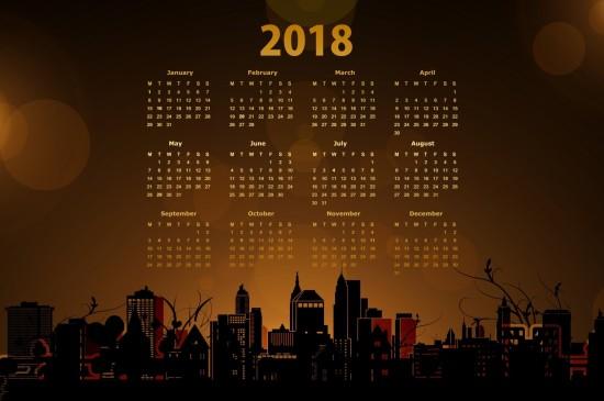 2018年全年日歷圖片
