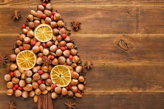 板栗杏仁干果圣誕樹擺件