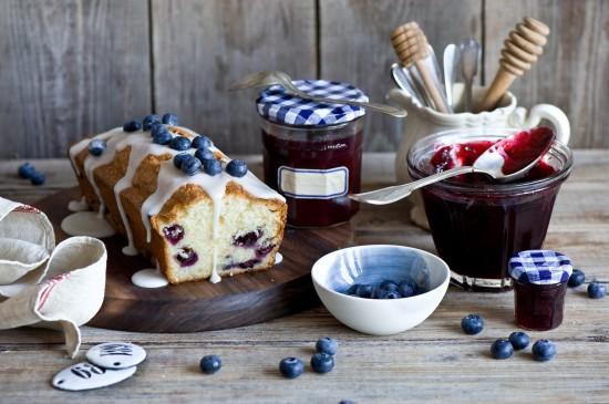 清新藍莓面包靜物擺件圖