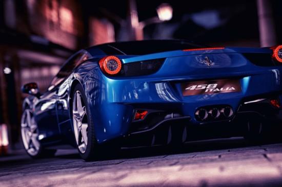 豪华蓝色超跑法拉利458