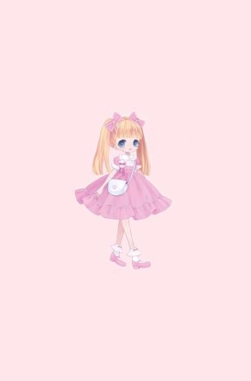 <粉色卡通小萝莉可爱高清手机壁纸