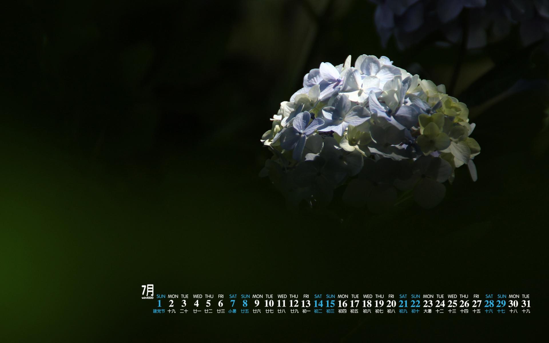 2018年7月唯美紫阳花朦胧高清日历壁纸 Tt98图片网