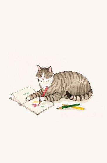 悠闲可爱的猫咪插画壁纸