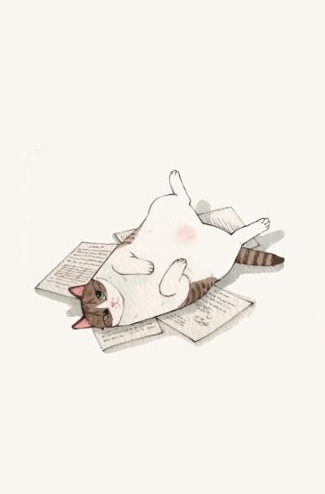 可爱猫咪插画手机壁纸图片