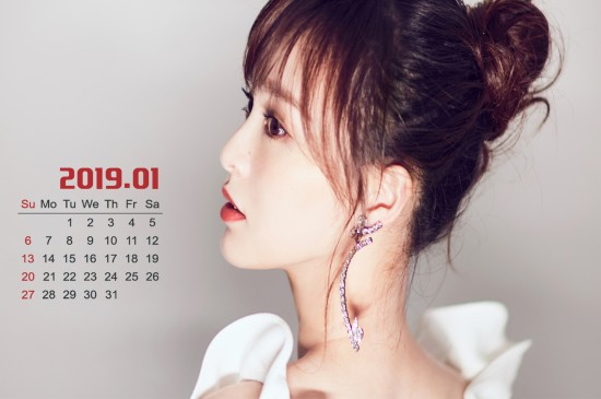 2019年1月唯美唐嫣女神性感美女日歷桌面壁紙