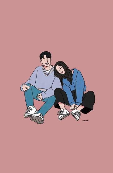 创意情侣手绘手机壁纸图片