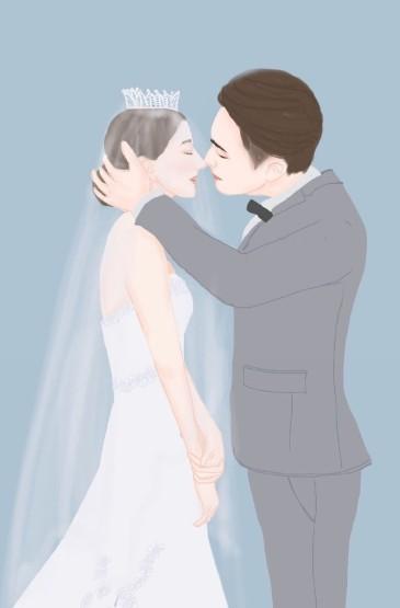 甜蜜情侣简约插画图片手机壁纸