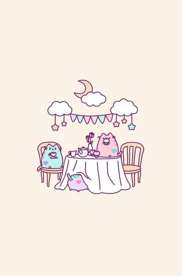 呆萌可爱卡通插画小动物图片手机壁纸