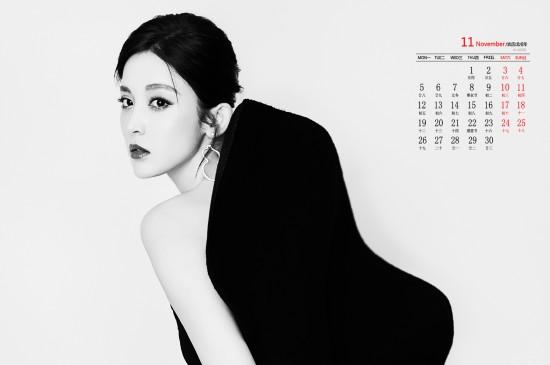 """2018年11月古力娜扎性感""""黑蝴蝶""""高清日历壁纸"""