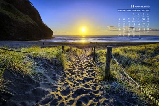 2018年11月海景风景图片日历壁纸