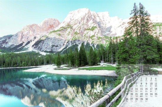 2018年11月皑皑雪山唯美高清日历壁纸