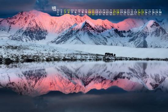 2018年11月川西雪山唯美高清日历壁纸