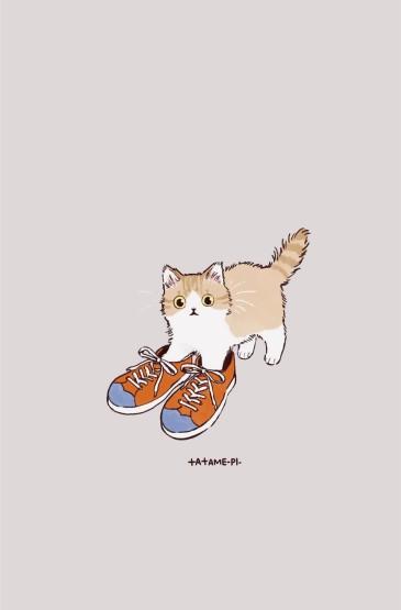 呆萌可爱的卡通猫咪高清手机壁纸