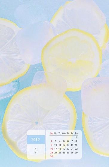 2019年6月清凉夏季日历图片手机壁纸壁纸