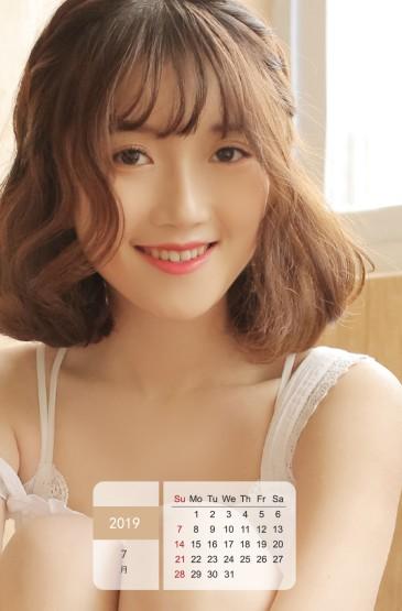 2019年7月居家养眼美女日历图片手机壁纸
