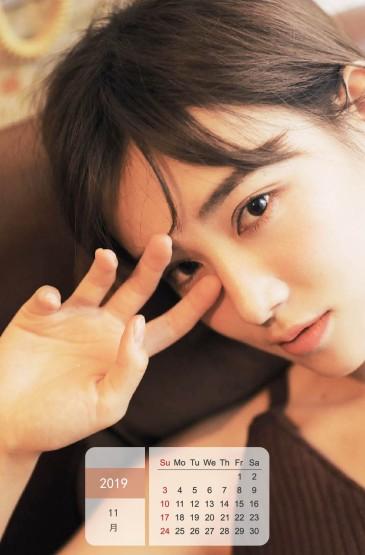 2019年11月气质短发美女日历图片手机壁纸