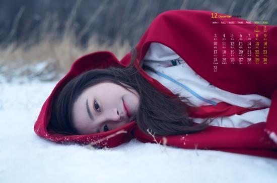 2018年12月冬日红衣美女唯美高清日历壁纸