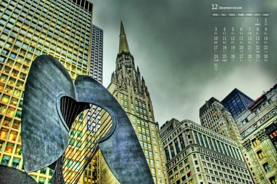 2018年12月美国芝加哥城市风景日历壁纸
